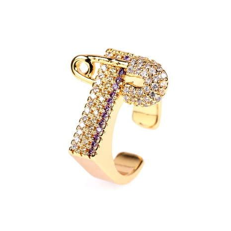 new diamond three-color pin fashion open ring NHPY315476's discount tags