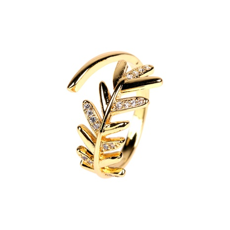 new feather simple micro diamond open ring NHPY315498's discount tags