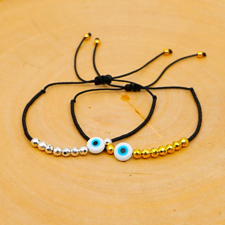 acrylic eye gold and silver Miyuki beads bracelet NHGW315529's discount tags