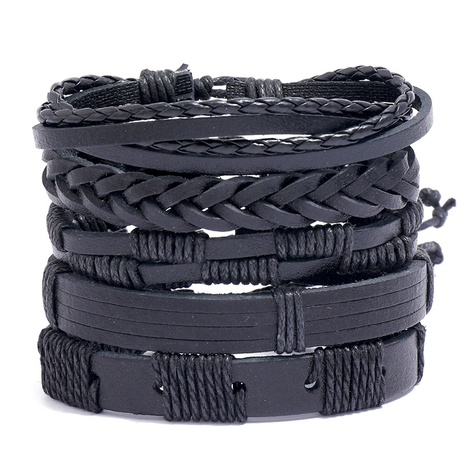 retro simple braided black leather bracelet  NHPK315541's discount tags