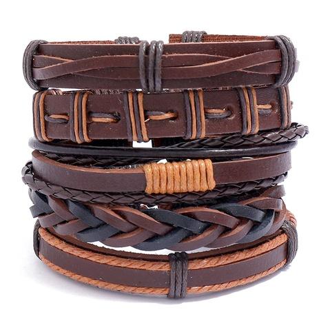 simple retro woven leather bracelet  NHPK315543's discount tags