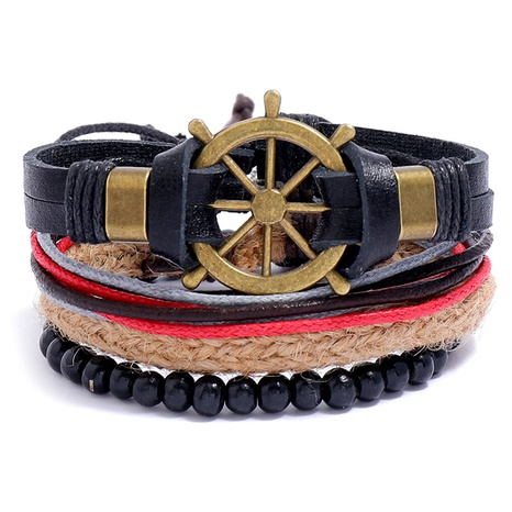 retro rudder braided leather bracelet  NHPK315544's discount tags