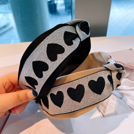 retro heart pattern hit color headband NHHD315546's discount tags