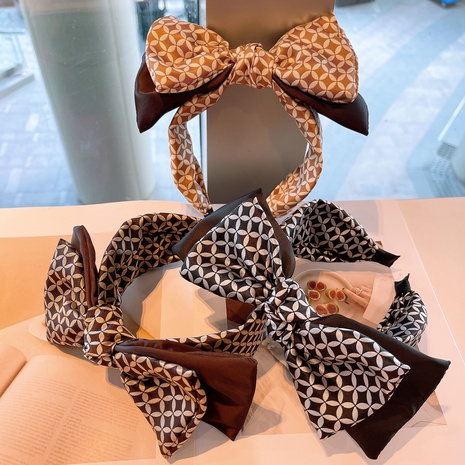 retro geometric printing bow headband NHHD315554's discount tags