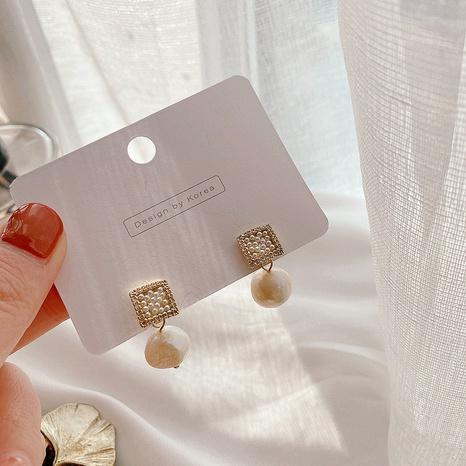 simple square beaded pearl earrings NHHI315566's discount tags