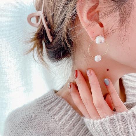 Boucles d'oreilles rondes de perles rétro coréennes NHHI315568's discount tags