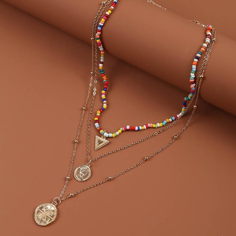 Bohemian handmade rice beads coin multi-layer necklace  NHLA315575