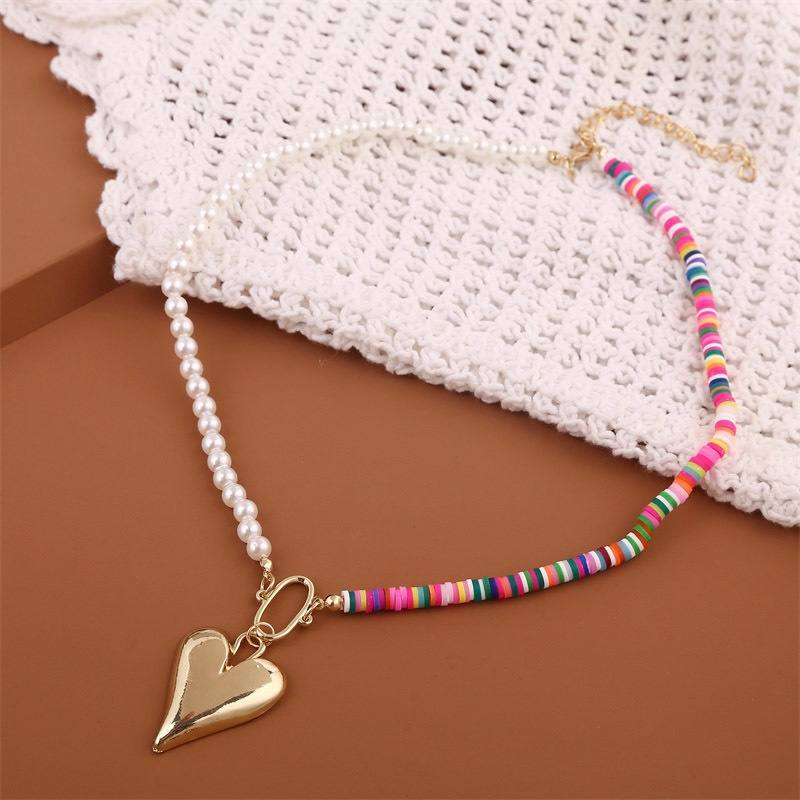fashion long asymmetrical soft pottery love necklace NHLA315574