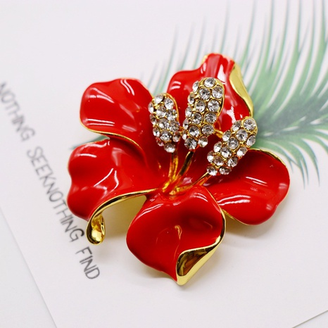 Exquisite Red Flower Brooch  NHOM314563's discount tags