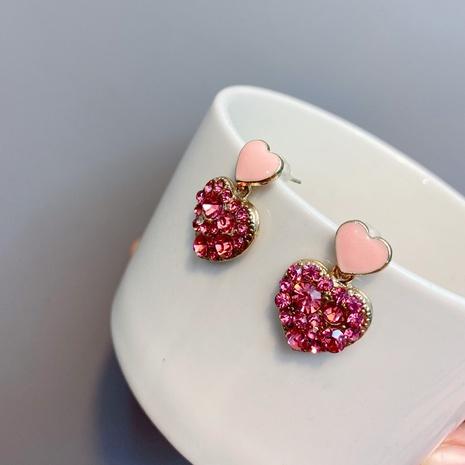 Pink Heart Fashion Diamonds Earrings NHFS314269's discount tags