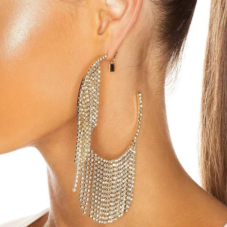 alloy diamond-studded tassel earrings  NHJE315578's discount tags