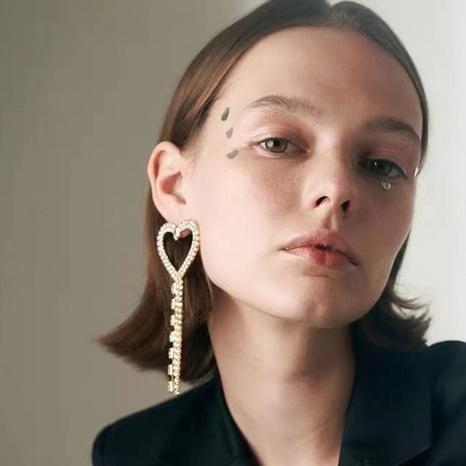 alloy diamond-studded heart-shaped tassel earrings  NHJE315585's discount tags