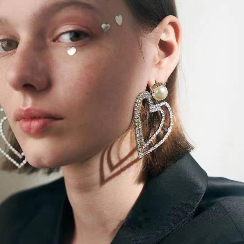 alloy rhinestone heart-shaped earrings NHJE315584