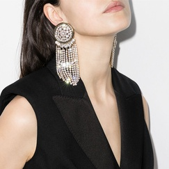 round alloy rhinestone tassel earrings  NHJE315588