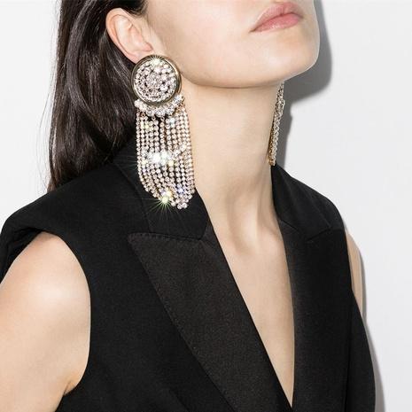 round alloy rhinestone tassel earrings  NHJE315588's discount tags