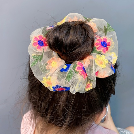 flower embroidery mesh hair scrunchies NHFS315626's discount tags
