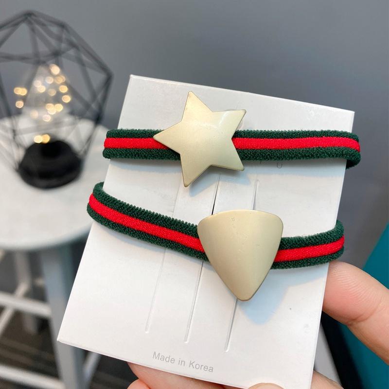 Simple metal star triangle striped elastic hair rope NHFS315634