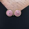 NHOM1452826-Pink-round-silver-needle-stud-earrings-1.8-cm