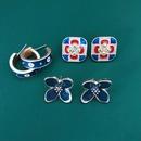 Ink blue flower square lattice earrings NHOM315729