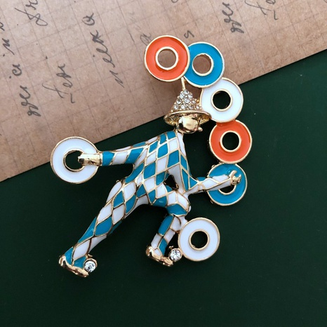 blue and white glaze clown brooch NHOM315736's discount tags