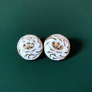 Round Rose 925 Silver Needle Earrings NHOM315737