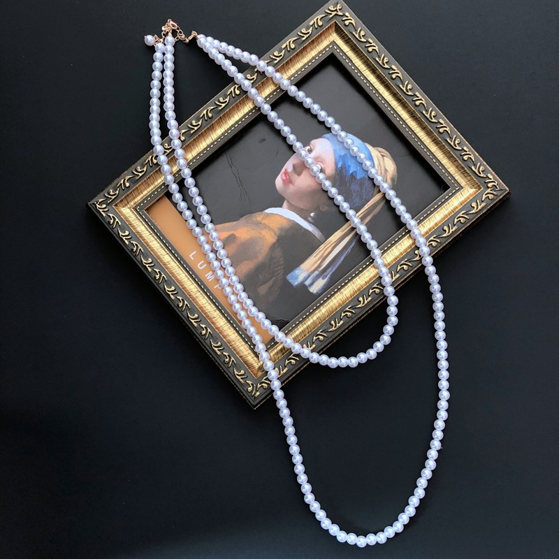 Double layer retro pearl necklace  NHOM315743