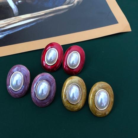 Vintage ovale Perlenohrringe NHOM315746's discount tags