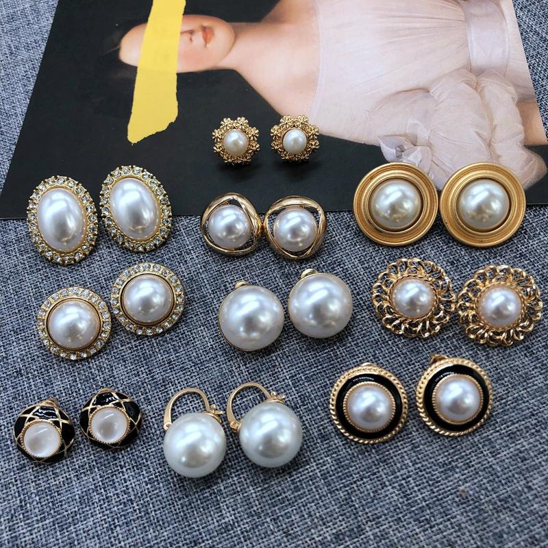 white pearl silver needle stud earrings  NHOM315752