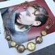 round pendant metal retro necklace NHOM315755