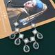 Emerald diamond drop pendant necklace NHOM315759