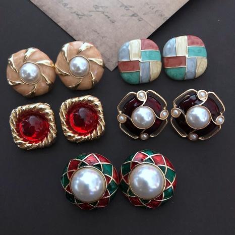 retro enamel glaze elegant retro earrings NHOM315761's discount tags