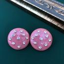 pink retro round heart earrings NHOM315763