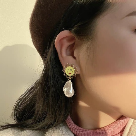 smiling face sunflower pearl earrings  NHYQ315827's discount tags