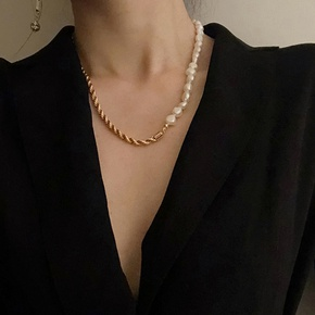 retro baroque pearl metal necklace  NHYQ315831
