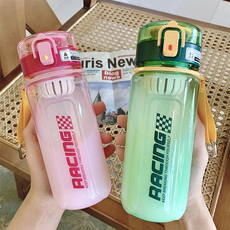 Simple solid color large-capacity sports plastic water bottle NHtn315847's discount tags