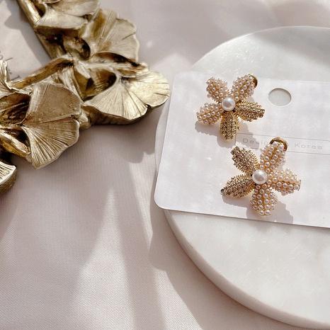 fashion flower pearl earrings NHHI315853's discount tags