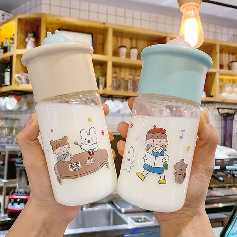 Fashionable cute portable cartoon printing glass cup NHtn315903's discount tags