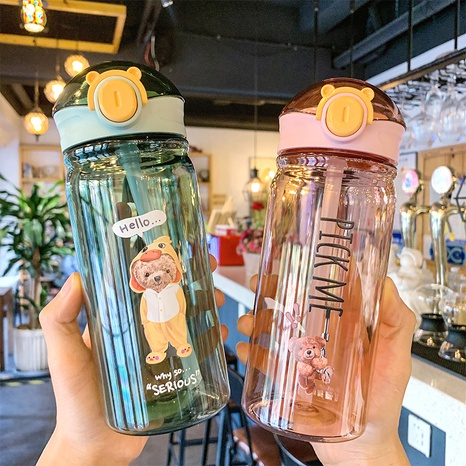 cartoon bear printing large capacity plastic water cup NHtn315934's discount tags