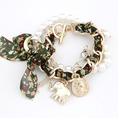 Koreanische Mode Anhänger Baby Elefant Münze Perle Doppel Armband NHSC315973's discount tags