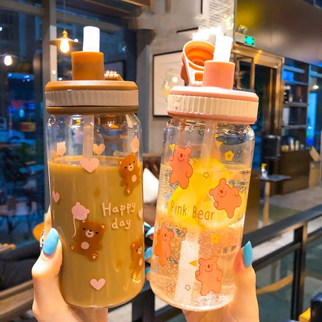 Cute little bear glass transparent water cup NHtn315874's discount tags
