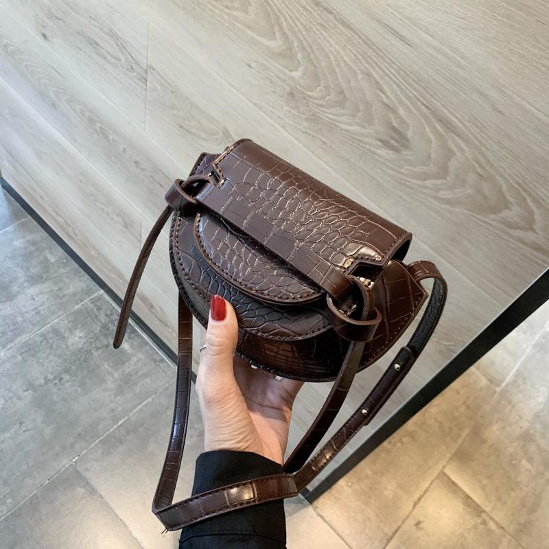 new trendy fashion crocodile pattern single shoulder crossbody saddle bag NHJZ316024