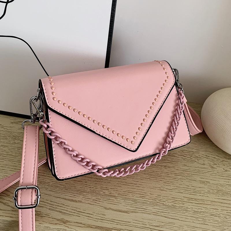 fashion simple rivet messenger square bag NHJZ316075