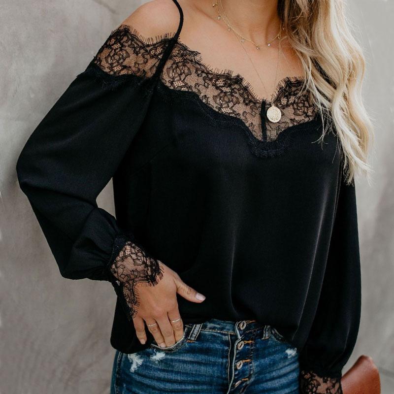 New Lace Stitching Chiffon Long Sleeve Top NHJC316199
