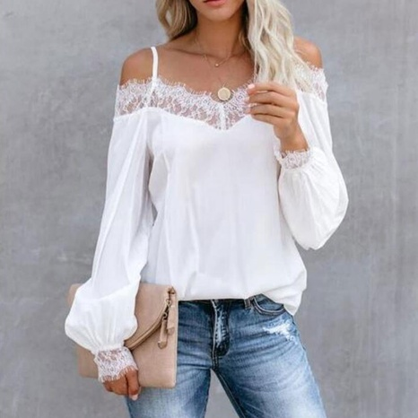 Frühling New Lace Loose Base Shirt Top NHKO316198's discount tags