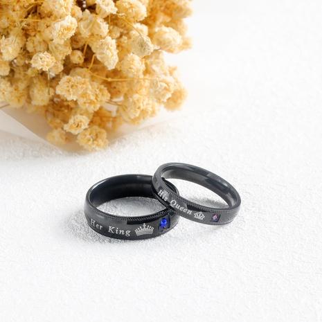 einfacher Queen Crown Paar Titan Stahl Ring NHOP313385's discount tags