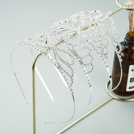 simple rhinestone metal hollow crown headband NHLN313825's discount tags