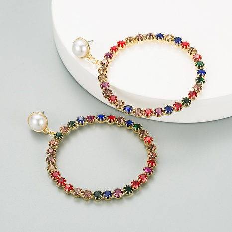 new exaggerated alloy pearl earrings NHLN313823's discount tags