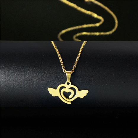 simple angel wings heart-shaped necklace  NHAC313844's discount tags