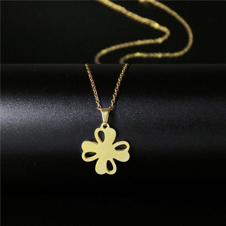 Klee Anhänger Gold vergoldete Edelstahl Halskette NHAC313879's discount tags