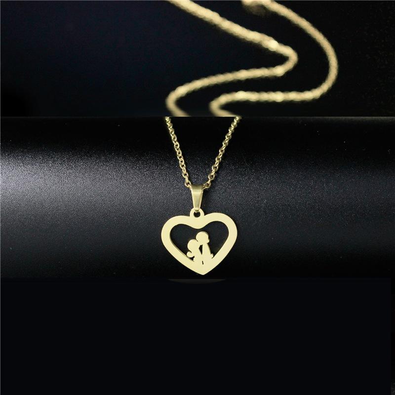 Collier de baiser de couple pendentif coeur en acier inoxydable NHAC313902